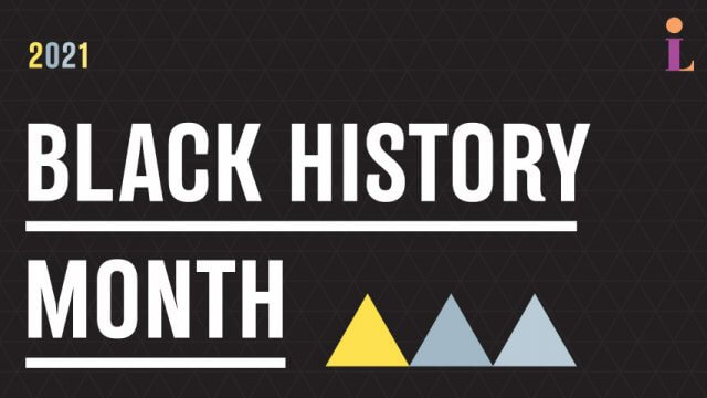 "Text reading ""Twenty twenty one black history month"" in front of black geometric background with three triangles positioned below."