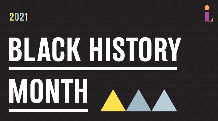 """Text reading """"Twenty twenty one black history month"""" in front of black geometric background with three triangles positioned below."""
