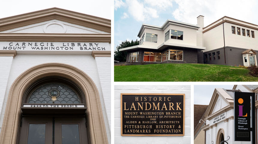 Collage of photos showing historic front and new back of CLP - Mt. Washington