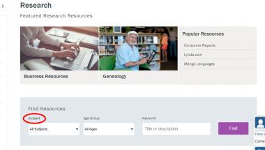 Screenshot of CLP website highlighting the word Subject