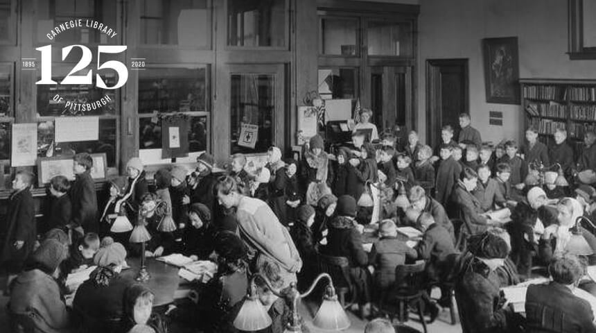 photo of many children in the library