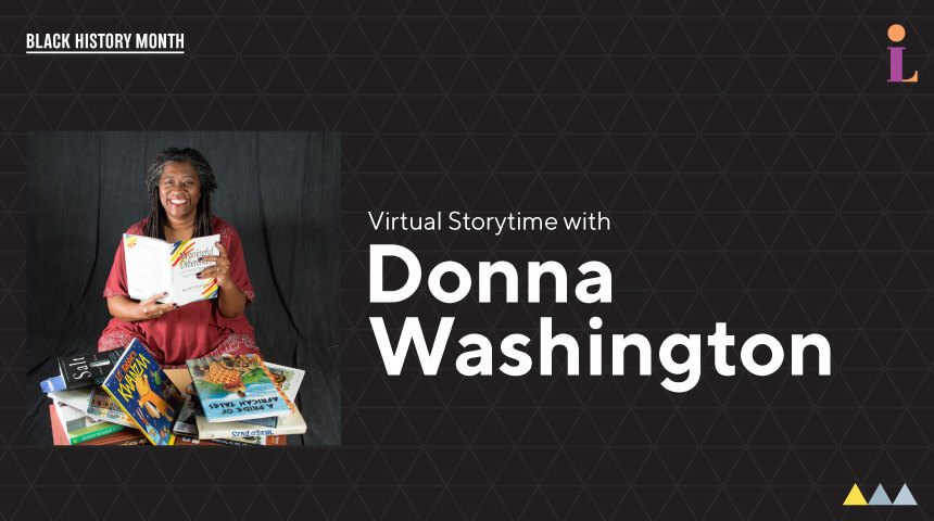 """Storyteller Donna Washington among a pile of picture books with text """"Virtual Storytime with Donna Washington."""""""