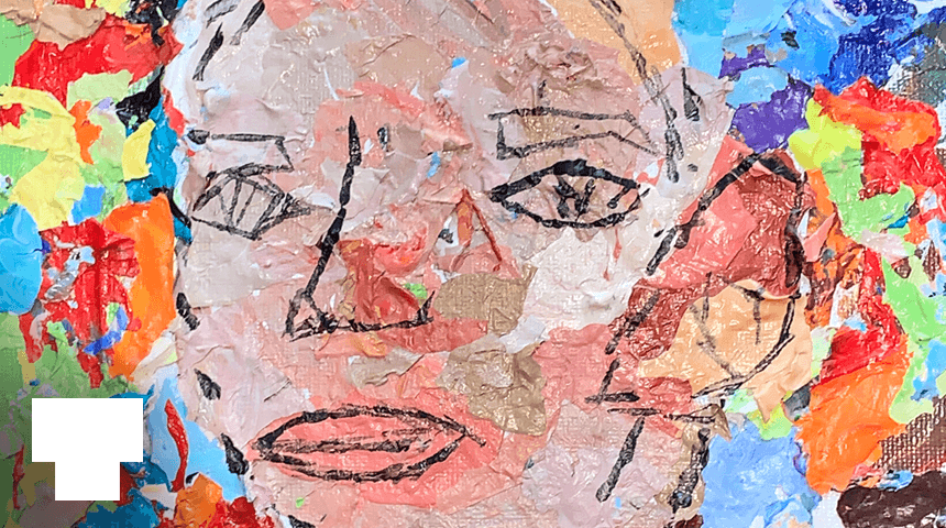 Detail from 2020 Teen Media Award-winning collage of a face surrounded by rainbow colors