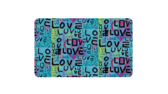"Library card covered with the word ""Love"""