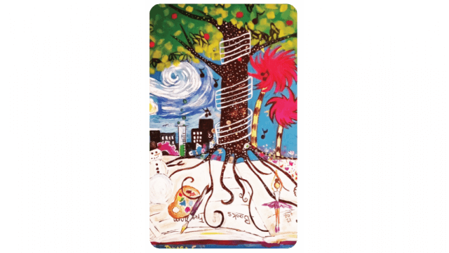 Library card featuring a tree surrounding by swirling objects and colors
