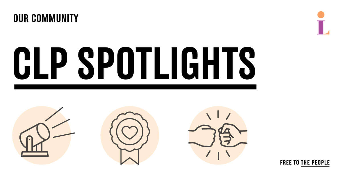 Our Community CLP Spotlights with graphcis of spotlight, award ribbon, and fist bump
