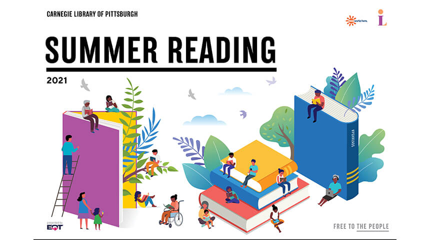 """Illustration of people of various ages surrounding large books with text reading """"Summer Reading"""""""