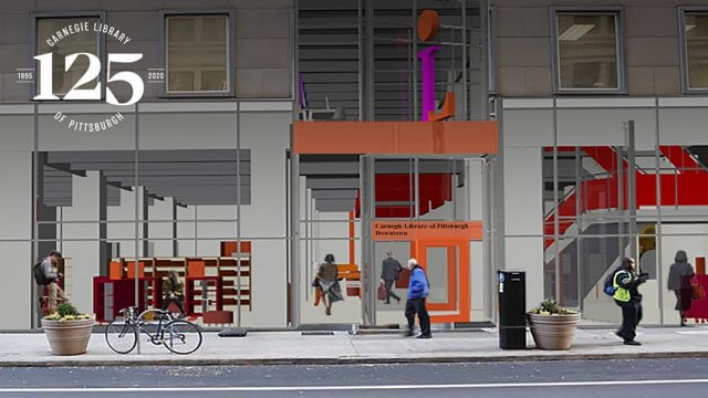 Computer rendering of the renovated exterior entrance for CLP-Downtown with the CLP 125 logo.