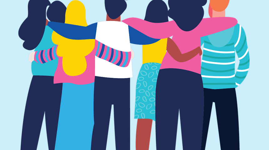Illustration of a group of teens back facing with arms interlocked.