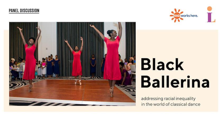 Three Black ballerinas wearing red dresses mid-performance