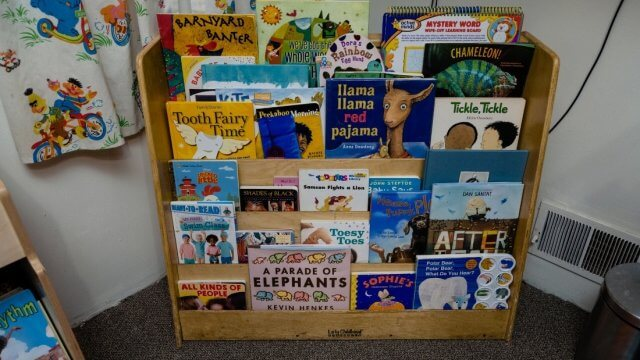 Books on display in a daycare classroom