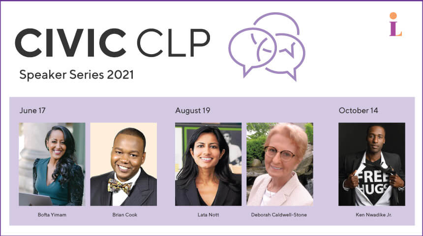 Five headshots with CIVICCLP Speaker Series at the top next to three overlapping speech bubbles
