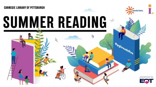"""Graphic of human figures interacting with oversized books with the text """"Summer Reading."""""""