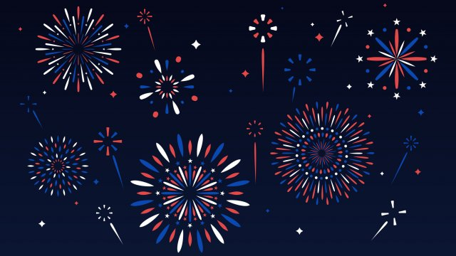 Multiple red, white and blue fireworks against a dark blue background