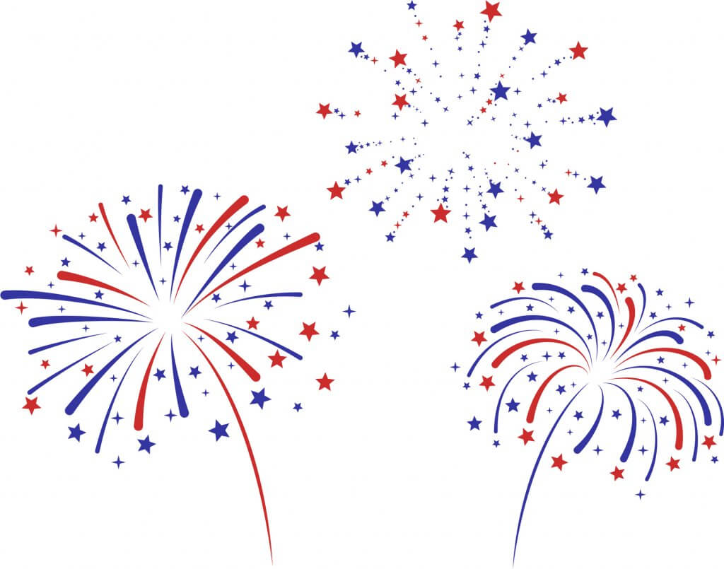 Three red, white and blue fireworks against a white background