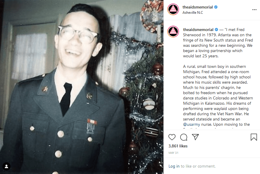 Photo of a smiling man in uniform from the AIDS Memorial Instagram account