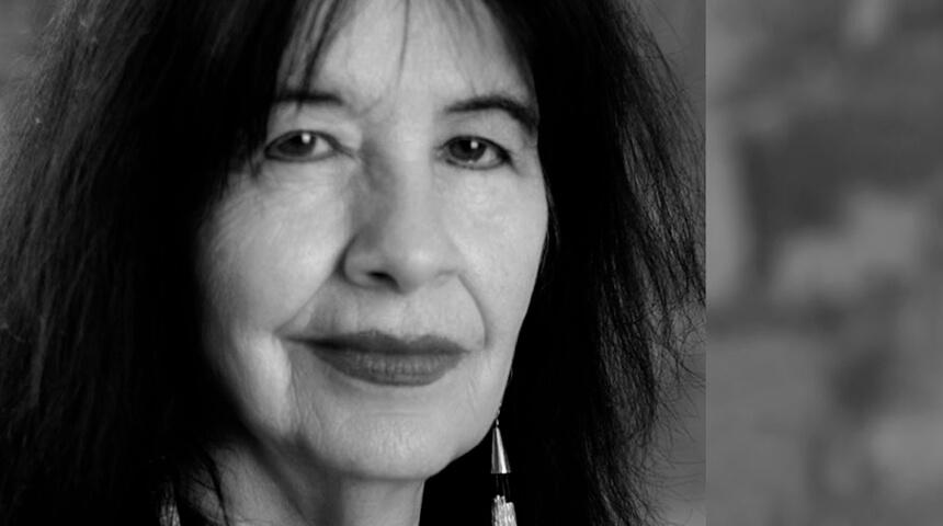 Black and white photo portrait of author Joy Harjo