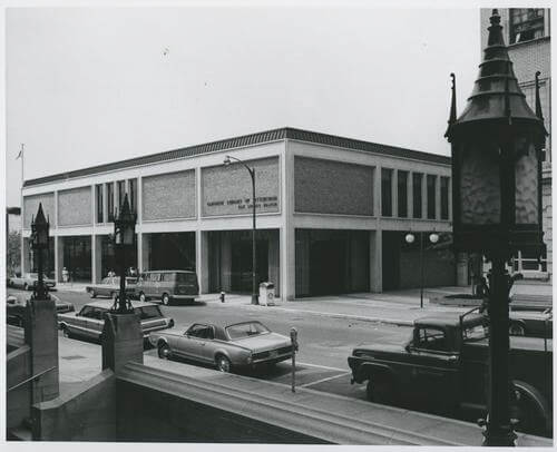 Exterior view of the East Liberty library branch taken circa 1968 after the branch relocated to South Whitfield Street.